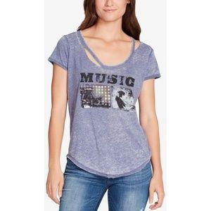 William Rast Music Destructed Graphic T-Shirt